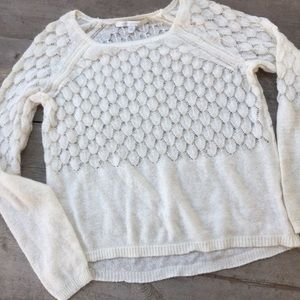 LC Lauren Conrad Creme Open Weave Sweater
